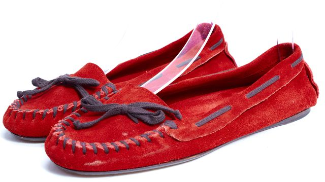 MIU MIU Red Suede Lace Up Moccasins