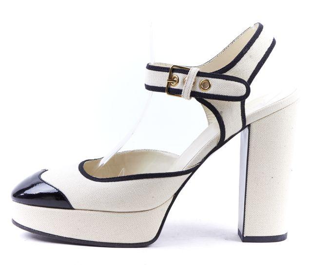 MIU MIU Ivory Ecru Canvas Black Patent Toe Mary Jane Platform Heels