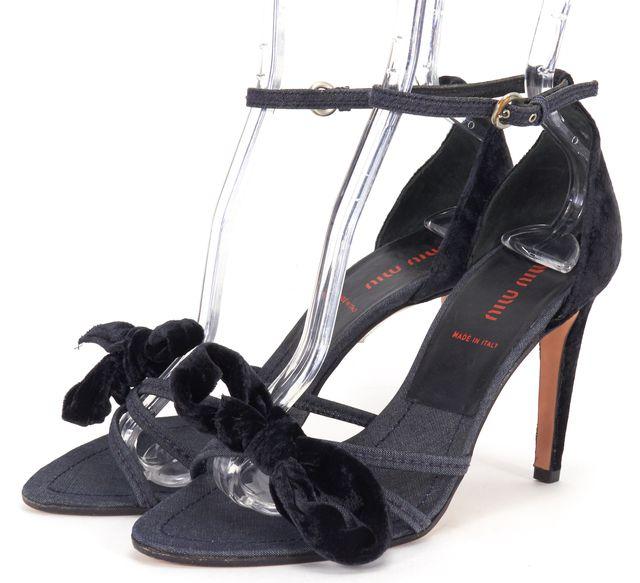 MIU MIU Blue Velvet Denim Bow Embellished Ankle Strap Heels