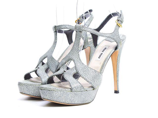 MIU MIU Gray Black Pebbled Leather Platform T-Strap Sandal Heels