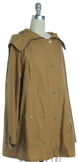 MIU MIU Khaki Beige Zip Button Up Hooded Jacket