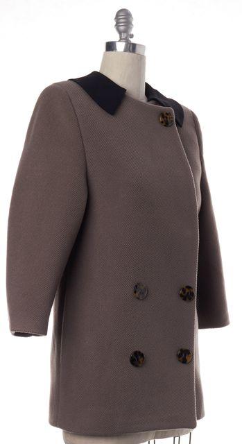 MIU MIU Brown Wool Black Collar Snap Button Down Coat