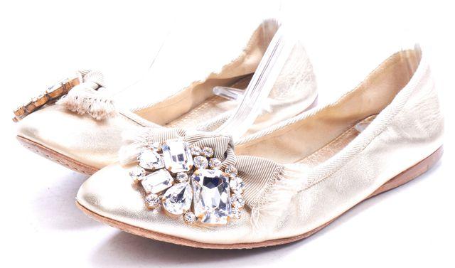 MIU MIU Metallic Gold Crystal Embellished Ballet Flats