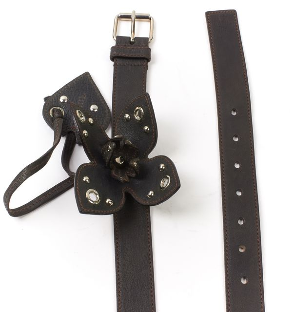 MIU MIU Black Leather Flower Embellished Belt