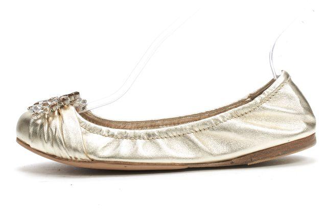 MIU MIU Metallic Gold Jewel Embellished Front Gathered Ballet Flats