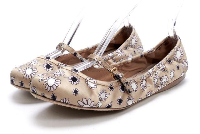MIU MIU Beige Floral Printed Casual Satin Mary Jane Ballet Flats