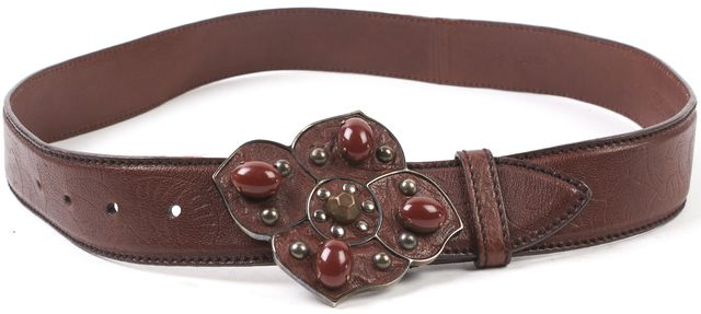 MIU MIU Brown Leather Stone Embellished Belt