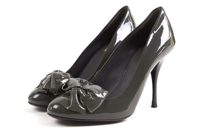 MIU MIU Green Patent Leather Bow Embellished Pump Heels