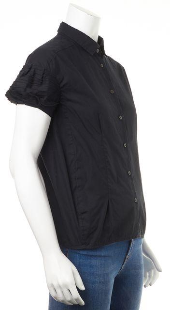 MIU MIU Black Cotton Short Sleeve Button Down Shirt