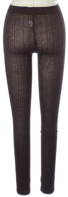 MIU MIU Metallic Brown Black Ribbed Knit Wool Leggings One