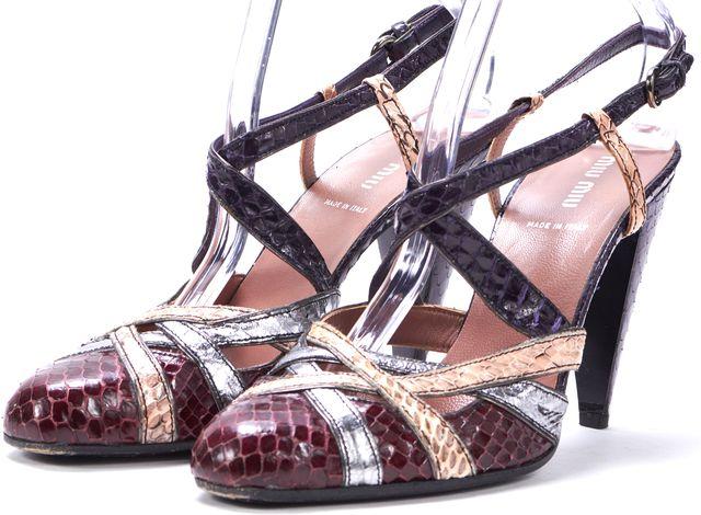 MIU MIU Burgundy Multicolored Snake Embossed Ankle Strap Sandal Heels