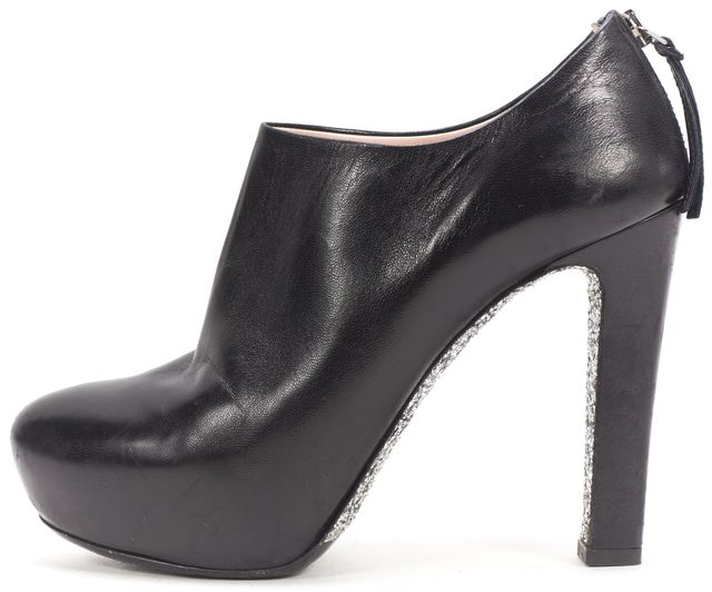 MIU MIU Black Leather Silver Sequin Embellished Heel Ankle Boots
