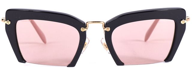 MIU MIU Black Pink Metal & Acetate Frameless Cat Eye Sunglasses w/ Case