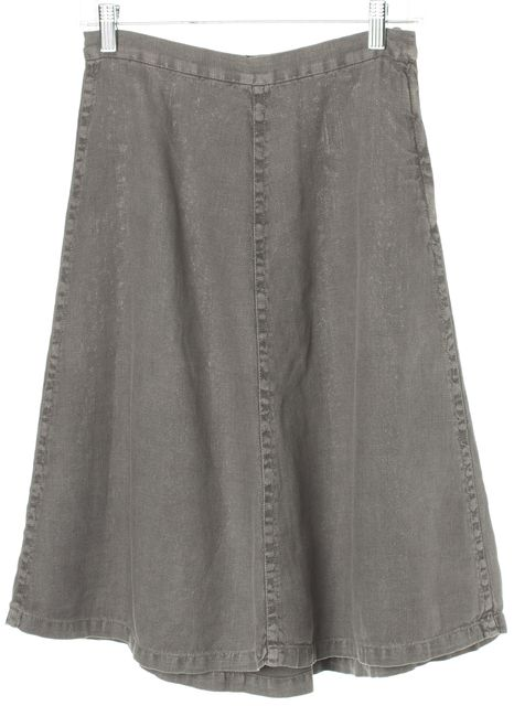 MIU MIU Gray Linen Leather Back Buckle A-Line Skirt