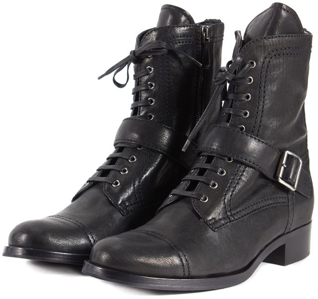 MIU MIU Black Leather Silver Buckle Lace Up Combat Moto Boots