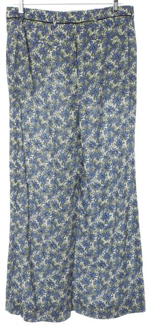 MIU MIU Blue Green Floral Print Trouser Dress Pants