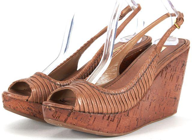 MIU MIU Brown Ruched Leather Sandal Cork Wedges