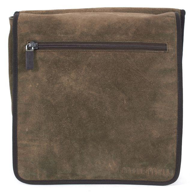 MIU MIU Dark Olive Green Suede Leather Brown Trim Crossbody Bag