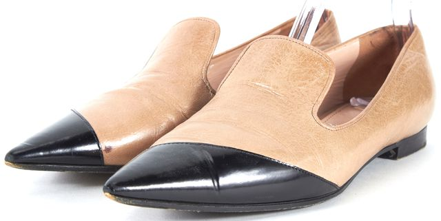 MIU MIU Beige Black Leather Pointed Flats