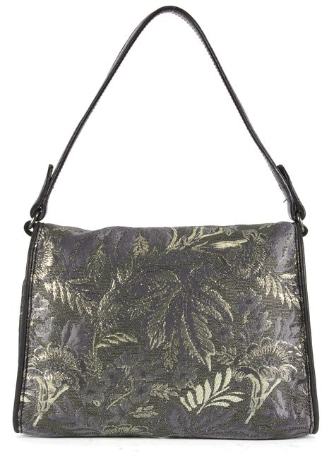 MIU MIU Gray Gold Metallic Leaf Print Canvas Leather Trim Shoulder Bag