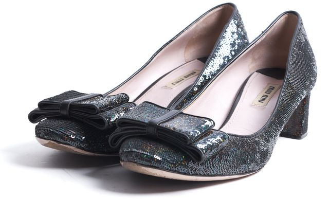 MIU MIU Green Iridescent Sequin Leather Trim Bow Embellished Heels