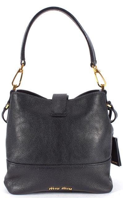 MIU MIU Black Gold Tone Hardware Pebbled Leather Satchel Shoulder Bag