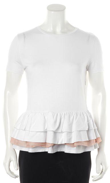 MIU MIU White Pink Cotton Short Sleeve Ruffled Peplum T-Shirt
