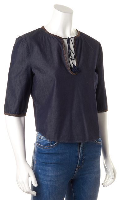 MIU MIU Denim Blue Tie Front Blouse Top
