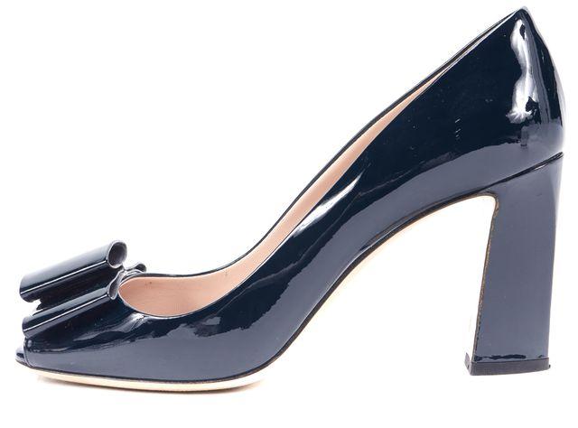 MIU MIU Blue Patent Leather Bow Embellished Peep Toe Pumps Heels