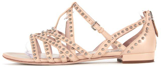 MIU MIU Light Pale Beige Stud Leather Sandals