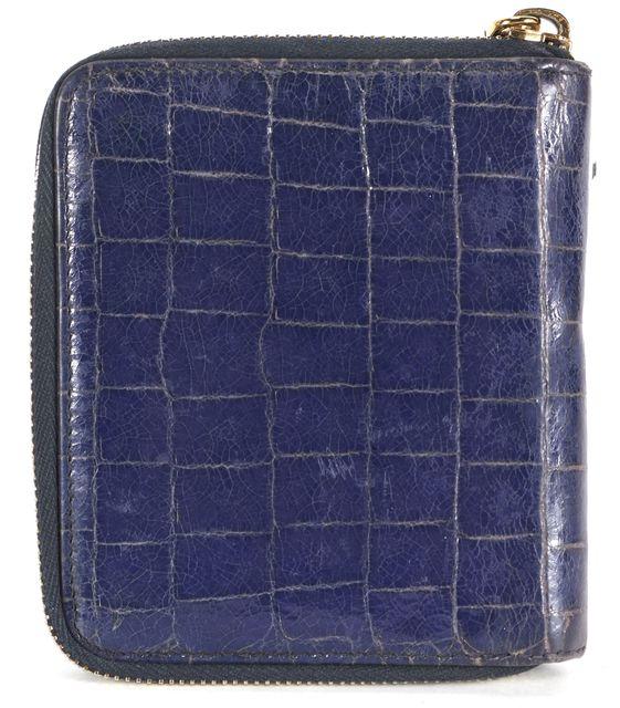 MIU MIU Blue Crocodile Embossed Leather Zip Around Wallet