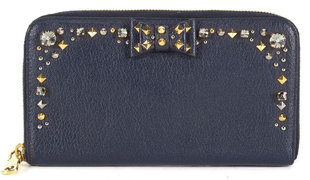 MIU MIU Dark Navy Blue Leather Diamond Stud Embellished Zip Around Wallet