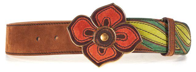 MIU MIU Brown Green Red Floral Suede Belt