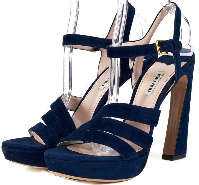 MIU MIU Blue Suede Leather Platform Pumps Curved Heels Size 40.5 US 10.5