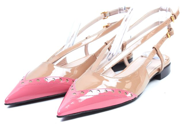 MIU MIU Pink Nude Patent Leather Double Buckle Ballerina Flat