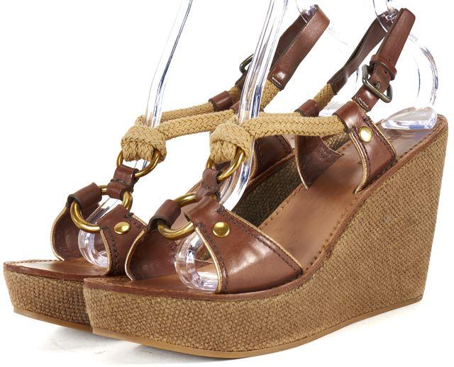 MIU MIU Brown Leather Rope Detail Wedge Sandals