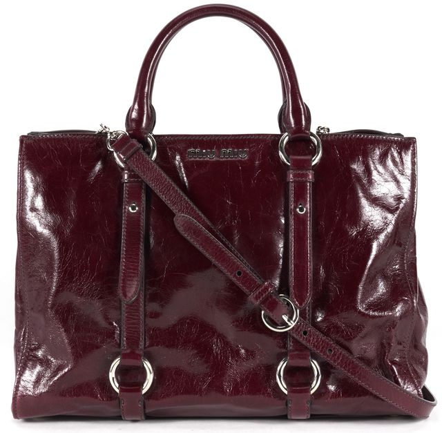 MIU MIU Burgundy Red Leather Vitello Shine Satchel Shoulder Bag
