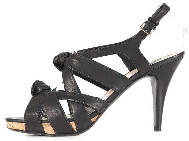 MIU MIU Black Knotted Leather Sandal Heels
