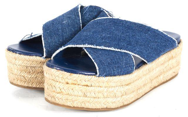 MIU MIU Blue Denim Leather Platform Espadrille Sandals