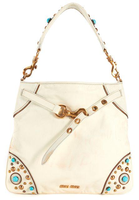 MIU MIU White Leather Turquoise Stud Embellished Shoulder Bag