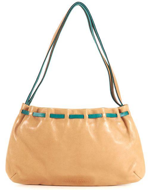 MIU MIU Tan Brown Teal Blue Trim Leather Shoulder Bag