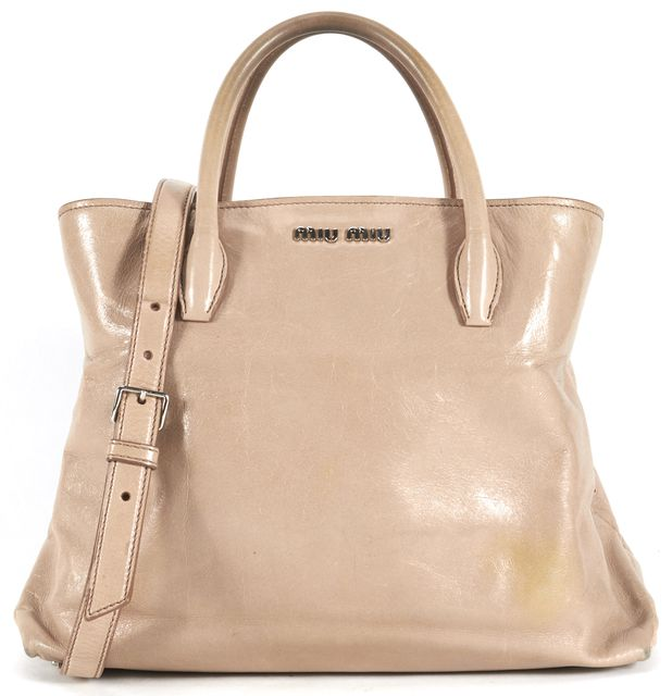 MIU MIU Beige Leather Silver Hardware Satchel