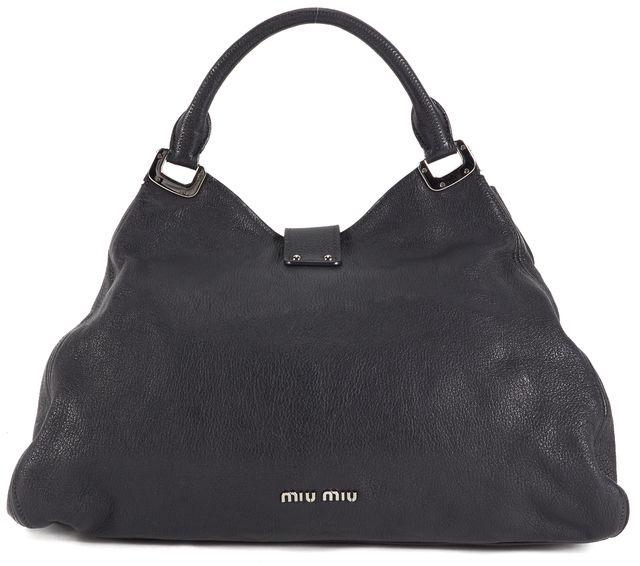 MIU MIU Black Leather Silver Hardware Convertible Satchel