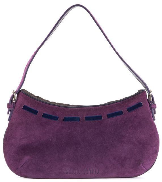 MIU MIU Dark Purple Navy Suede Velvet Ribbon Detail Shoulder Bag