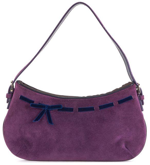 991955454025 ... MIU MIU Dark Purple Navy Suede Velvet Ribbon Detail Shoulder Bag