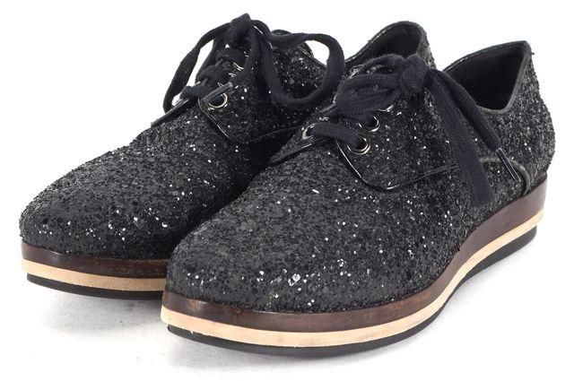 MIU MIU Black Suede Glitter Embellished Lace Up Oxfords