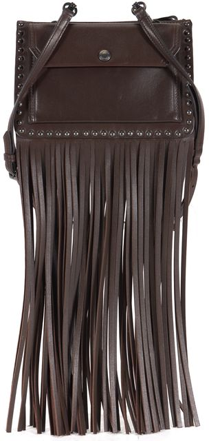 MIU MIU Chocolate Brown Calf Leather Studded Fringe Crossbody