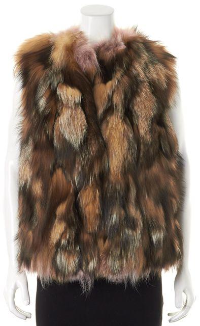 MIU MIU Brown Pink Fox Fur Vest