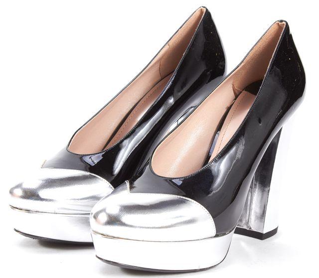 MIU MIU Black Silver Patent Leather Platform Heels