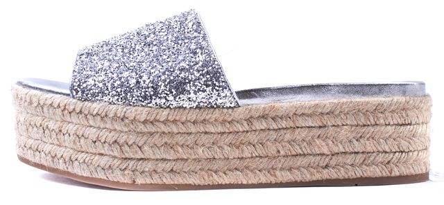 MIU MIU Silver Glitter Leather Platform Espadrille Sandals